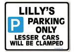 LILLY'S Personalised Parking Sign Gift | Unique Car Present for Her |  Size Large - Metal faced